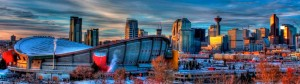Calgary alberta saddledome downtown flames hockey smoke sky clouds vintage
