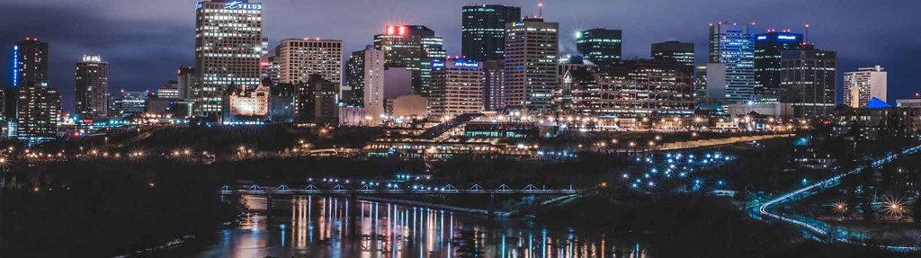 edmonton reflection river bridge alberta capital north city