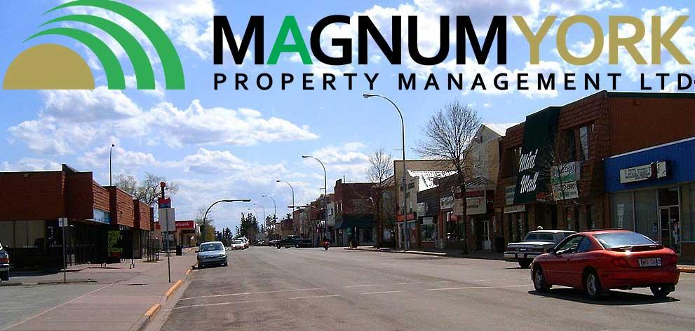 Olds Alberta main street Magnum York Management Town
