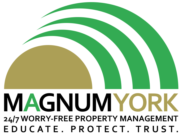 Magnum York Logo worry free property management educate protect trust