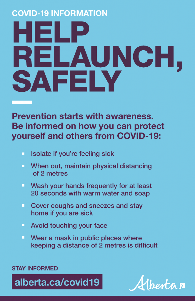 Covid-19 Alberta Government Information to Help Relaunch Safely